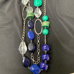 Jewelry - Green blue clear beaded silver necklace long